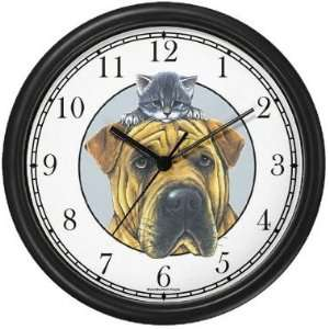 Mastiff Dog and Tabby Cat Kitten Wall Clock by WatchBuddy