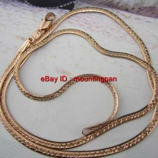 18k Real Rose Gold Filled Snake Chain GF Necklace Men Lady Jewelry