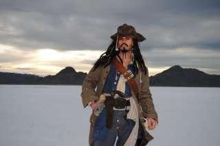 JACK SPARROW Pirate FULL COSTUME Belt Coat Wig LUXURY