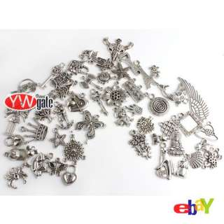 50Pcs Mixed Assorted Tibetan Silver Charms Pendant Free Ship 140430