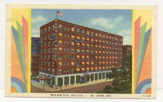 ST LOUIS MO WARWICK HOTEL ART DECO OLD POSTCARD PC6526