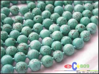 Naturel 100 10MM ROUND blue turquoise BEAD NECKLACE