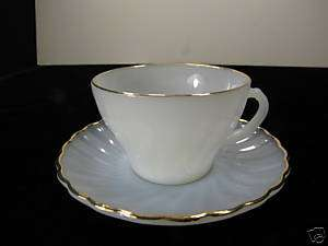 Vintage Fire King Milk Glass W/ Gold Trim Cup & Saucer