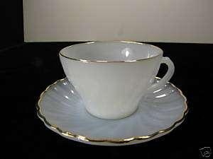 Vintage Fire King Milk Glass W/ Gold Trim Cup & Saucer