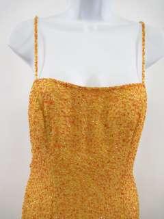 JE MATADI Orange Silk Beaded Spaghetti Strap Dress Sz 6