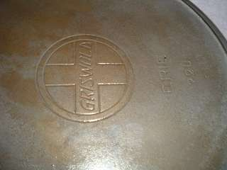 Griswold #13 720 Erie Cast Iron Skillet Nickel Slant Logo Heat Ring