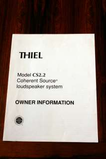 Thiel CS2.2 CS 2.2 Speaker Owners Manual *Original*