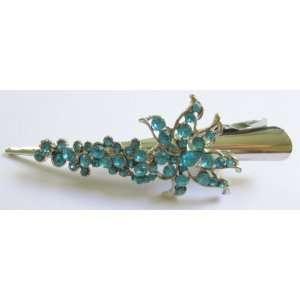 Blue Rhinestone Flower Metal Hair Clips 5L Beauty