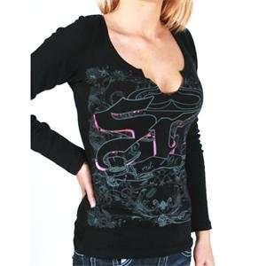 SRH Womens Laces Out Long Sleeve T Shirt   Large/Black Automotive