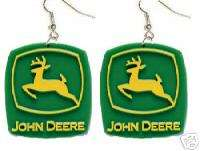 Big Funky JOHN DEERE EARRINGS Farm Tractor Sign Jewelry