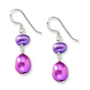 Sterling Silver Dark Pink & Purple Fw Cultured Pearl Earrings Jewelry