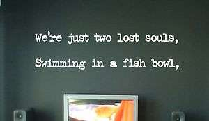 SWIMMING IN A FISH BOWL WALL ART STICKER QUOTE. PINK FLOYD LYRICS