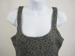 WALTER Black White Tweed Lined Spaghetti Strap Dress S