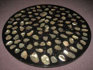 Beautiful Vintage Large Lucite Abalone Shell Lazy Susan Turning Table