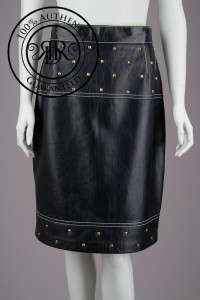 ESCADA $1800 BLACK LEATHER GOLD STUDDED TRIM SKIRT 12/42 (55596