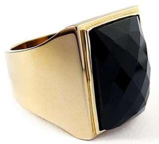 BIG BLACK ONYX GOLD BRASS BRONZE RING Sz 8 NEW SIMPLY ELEGANT JEWELRY