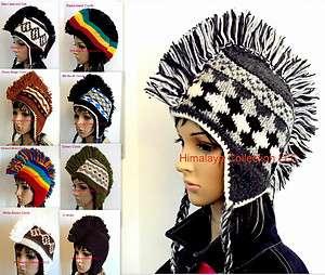 New Mohawk Hand Knit Wool Hats, Knitted Cap, Beanie, Winter Ski Sherpa