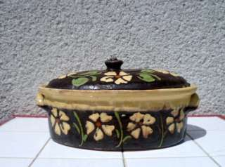 Old French terra Cotta FLORAL TERRINE / COOKING DISH  FAB