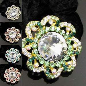 ADDL Item  1pc rhinestone crystal flower hair scrunchie