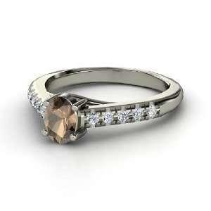 Ring, Oval Smoky Quartz 14K White Gold Ring with Diamond Jewelry