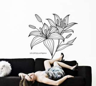 Lily Flower Art Vinyl Deco Wall Paper Sticker Decal 190