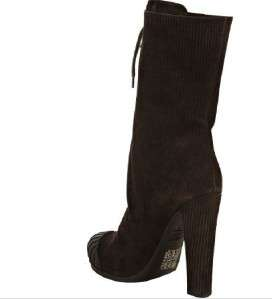 FENDI Brown Corduroy Suede Duck Boot Shoe 37.5 NIB