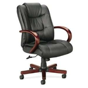 Series VL841 Leather Wood High Back Chair with arms