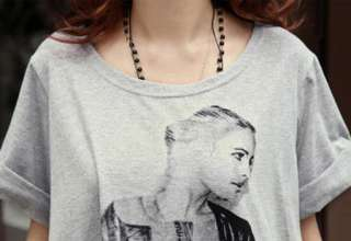 New Korean Women Short Sleeve Sexy Girl Printing Loose T shirt Top 2