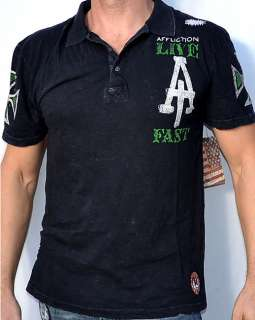 Affliction American Customs BLACK ACES Mens Polo Shirt NEW A4466