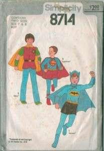 Simplicity Batman Superman Super Heroes Costume Sewing Pattern Childs