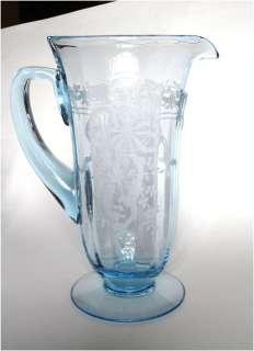 Fostoria Glass Azure Blue June Etch Water Pitcher RARE