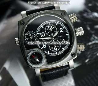 Mens Military Dual Time Zone Sports Analog Quartz Watch