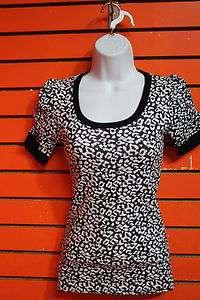 junior Diva leopard print fashion top t shirt black size S,M,L