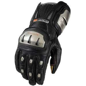 Icon Timax TRX Long Mens Leather Road Race Motorcycle Gloves   Black