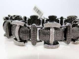 NEW MENS BLACK GOLD FINISH BLACK/WHITE DIAMOND XXL 22 MM DESIGNER
