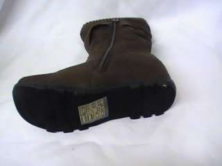 Girls Brown Suede Boots w/ Sock Trim AN# Youth Sz 4