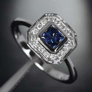 Princess Cut SAPPHIRE & DIAMOND  14K WHITE GOLD Invisible Engagement