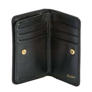 Women Buxton Leather Black Flower Deluxe Card Case Wallet