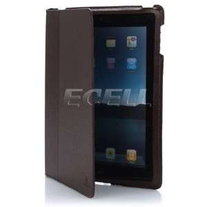 BROWN LEATHER CASE COVER WITH STAND FOR APPLE IPAD 2 Electronics