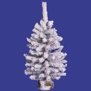 9 Flocked Mini Pine Christmas Tree 47T Wood Base