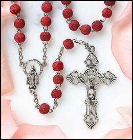 Rose Scented Carved Rose Petal Wood Rosary Bead Necklace