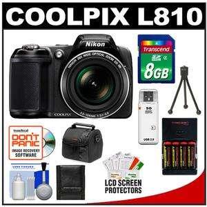 Nikon Coolpix L810 Digital Camera (Black) with 8GB Card + Batteries