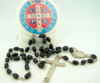 Saint St Benedict Black Prayer Rosary Beads & Keepsake Box Case