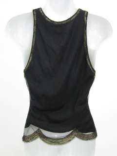 VIVIENNE TAM Black Gold Sequin Sleeveless Tank Blouse 2