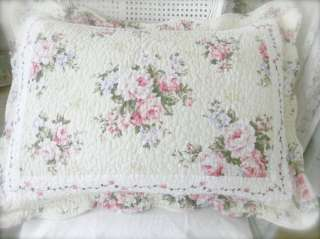 Full Queen Bed Quilt Set Shabby French Country Pink Roses & Periwinkle