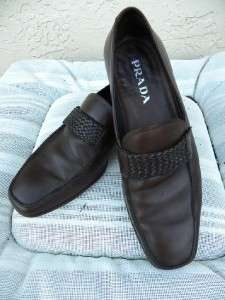 PRADA BROWN LEATHER MENS LOAFERS SZ 6 1/2