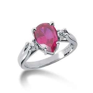 Ct Diamond Ruby Ring Engagement Pear Cut Prong Fashion 14k White Gold