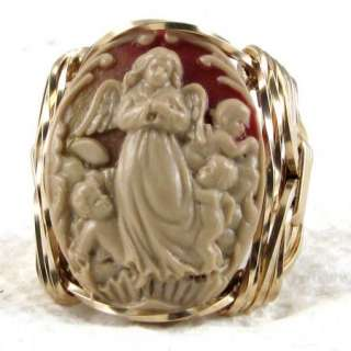 Guardian Angel Cherubs Cameo Ring 14K Rolled Gold