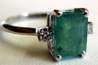 Emerald Diamond 14 Karat White Gold Solitaire Ring Sz6