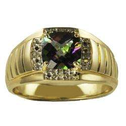 You 10k Gold Mens Mystic Fire Topaz and Diamond Ring